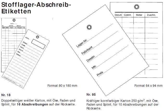 Stofflager-Abschreib-Etiketten